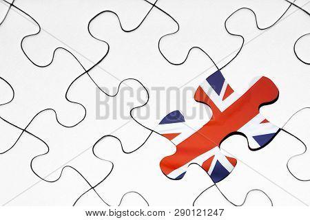 United Kingdom Flag Puzzle Piece On White Background