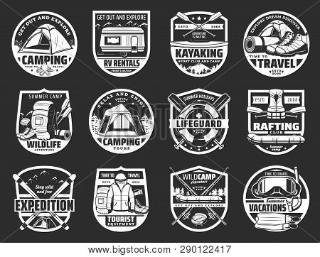 Travel And Sport Icons. Vector Camping And Kayaking, Lifeguard And Rafting, Expedition And Tourist E