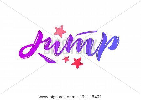 Vector Illustration Of Jump Text. Trampoline Park Concept.