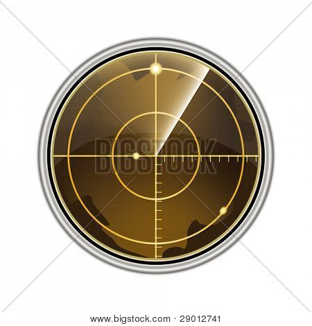 Vector illustration of the radar screen isolated on white background