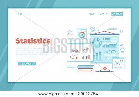 Statistics Presentation. Monitoring And Analysis Statistical Data. Graphs, Charts, Diagrams, Infogra