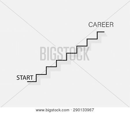Stairs Up. Business Concept. Start To Career. Business Concept Career. Flat Design
