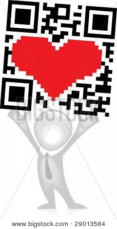The QR-Code raised in the hands of man
