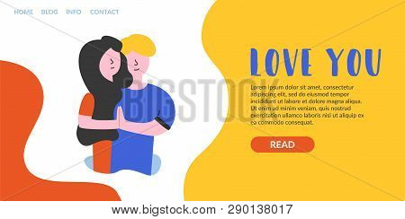 Vector Flat Banner Love You. Landing Page Romantic Relationships, Lovemaking Films, Fostering Fideli