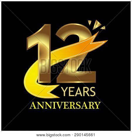 12 Years Anniversary Golden. Anniversary Template Design For Web, Game ,creative Poster, Booklet, Le