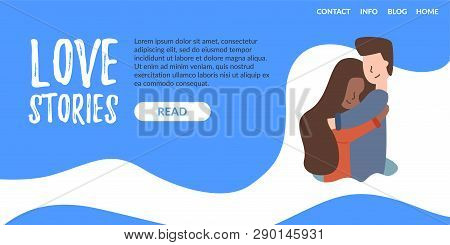 Vector Flat Banner Landing Page Love Story. A Young Guy Falls In Love With An African American Girl.