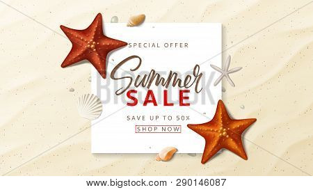 Summer Sale Advertisement Vector Banner. Summer Background With Top View On Realistic Seashells And