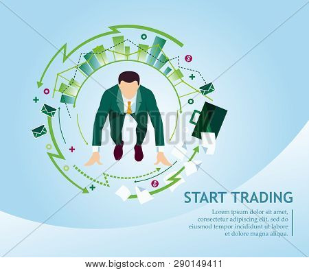 Start Trading. Businessman Prepared To Run From A Low Start In A Circle Trading Charts, Diagramms. B