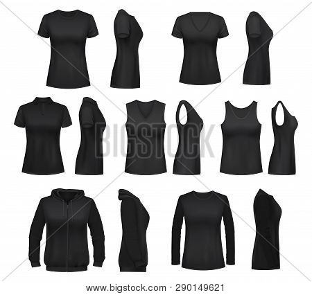Women Clothes Isolated Mockups. T-shirt And Hoodie, Sweatshirt, Polo And Singlet, Sleeveless Shirt A