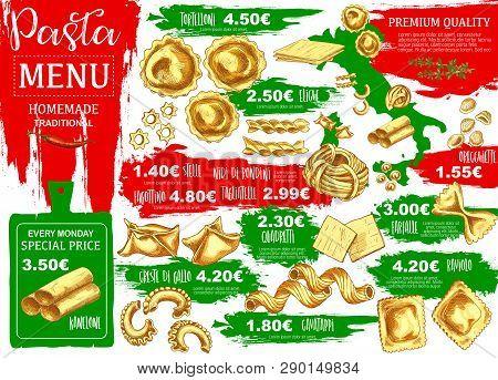 Pasta Menu, Homemade Italian Food. Vector Kanelone And Tortelloni, Eliche And Stelle, Nidi Di Rondon