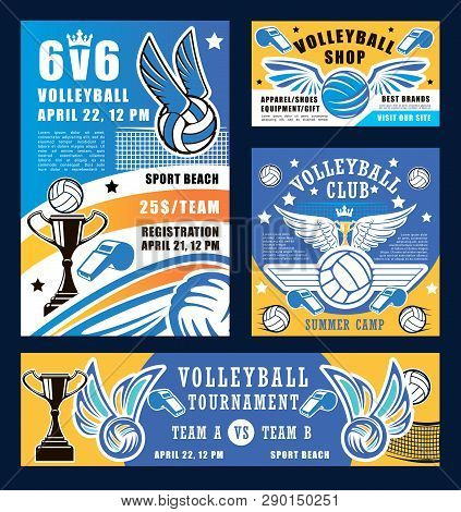 Volleyball Sport, Ball And Whistle. Vector Sport Competition At School, Trophy Cup And Net, Ball Wit
