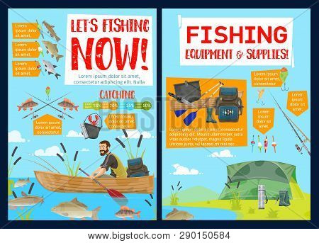 Fishing Sport Equipment And Supplies, Camping Travel. Vector Fisherman In Boat And Fishery Items, Ri