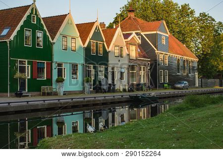 Photo Of Picturesque Street With Canal Of Zaandam Town In  Province North Holland Netherlands