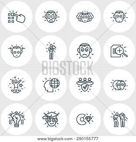 Vector Illustration Of 16 Emoji Icons Line Style. Editable Set Of Alter Ego, Making Choice, Personal