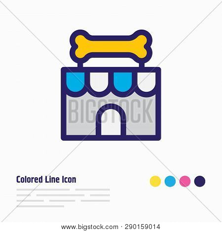 Vector Illustration Of Pet Shop Icon Colored Line. Beautiful Pet Element Also Can Be Used As Veterin