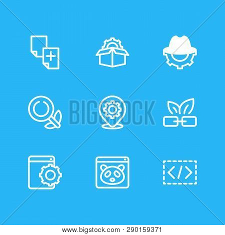 Vector illustration of 9 marketing icons line style. Editable set of organic search, duplicate content, web development service and other icon elements. poster