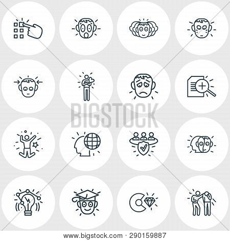Illustration Of 16 Emoji Icons Line Style. Editable Set Of Alter Ego, Making Choice, Personality And