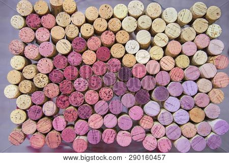 Wine Corks Background. Many Different Wine Corks. Wine Stairs On Old Corks.