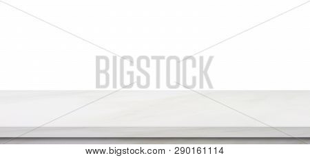 Empty Marble Table, Isolated On White Background, Banner, Table Top, Shelf, Counter Design For Produ
