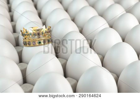 Trey with white eggs and one egg with crown. Indiciduality and best choice concept. 3d illustration