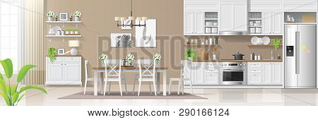 Modern Rustic House Interior Background With Kitchen And Dining Room Combination , Vector , Illustra