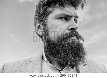 Expert tips for growing and maintaining moustache. Hipster handsome bearded attractive guy close up. Man bearded hipster with mustache sky background. Ultimate beard and moustache grooming guide poster