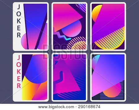 Playing Cards In Modern Style. Gradient Shapes, Geometric Objects. The Reverse Side Of The Playing C