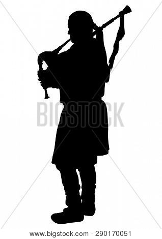 Musician with bagpipes in vintage clothes on a white background