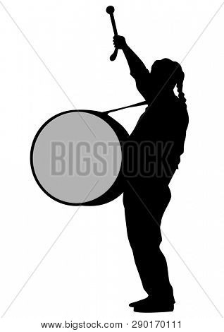 Man in old uniform with big drum on white background