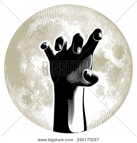 Zombie Hand On The Full Moon In Background