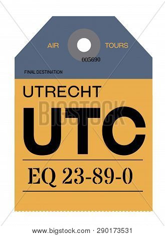 Utrecht Realistically Looking Airport Luggage Tag Illustration