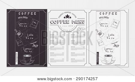 Coffee Menu For Restaurant, Coffee House, Cafe. Template Placemat With Two Variants Of Cover - Black