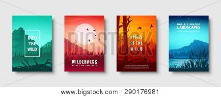 Mountains And Forest. Wild Nature Landscape. Travel And Adventure.panorama. Into The Woods. Horizon