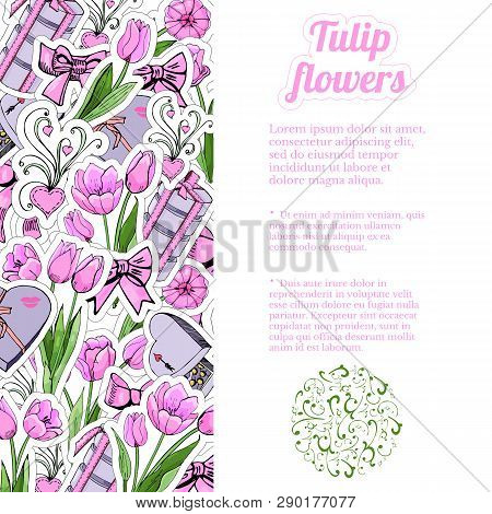 Vertical Rectangle Composition  Of  Hand Draw And Color  Sketch  Of Pink Tulip Flowers And Leaves, S