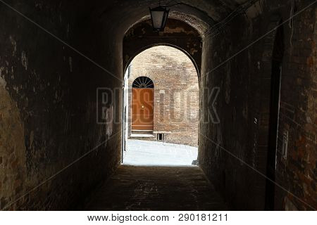Porch .passage Into The Courtyard Of An Old House In The Historic Quarter Of The City