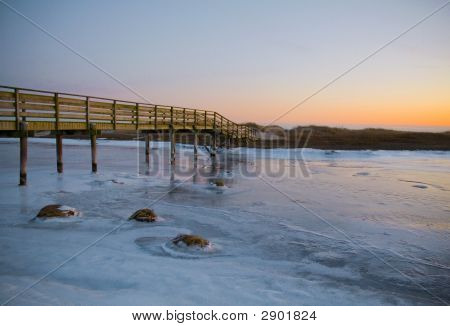 A Cape Cod Bridge In Winter