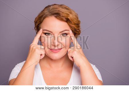 Close Up Photo Beautiful Amazing Model She Her Lady Hold Hands Arms Eyelid Check Wrinkles Great Wow