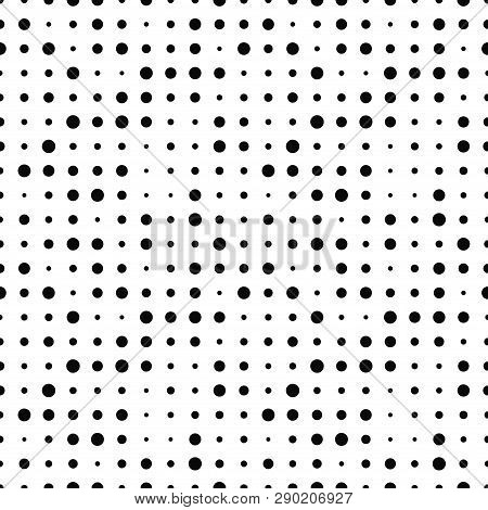 Black And White Seamless Pattern With Grunge Halftone Dots. Dotted Texture. Halftone Dots Background