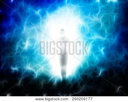 Spirit emerges from light. Soul or Aura. 3D rendering