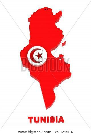 Tunisia, Map With Flag, Isolated On White With Clipping Path