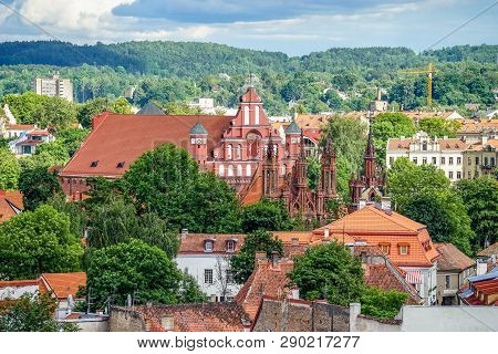 Vilnius Old Town Aerial Panorama With Churches