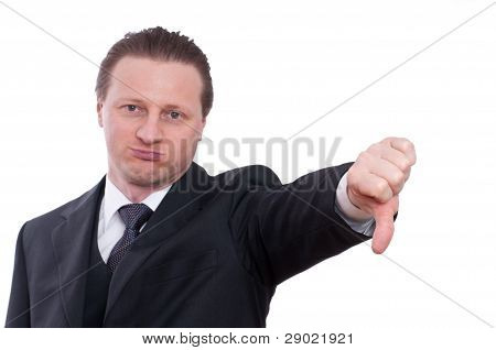 Businessman Is Holding Thumb Down