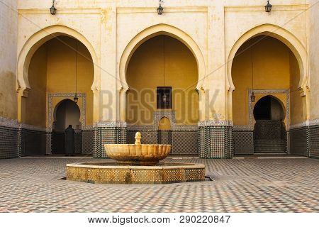 Mausoleum of Moulay Ismail interior in Meknes in Morocco. poster