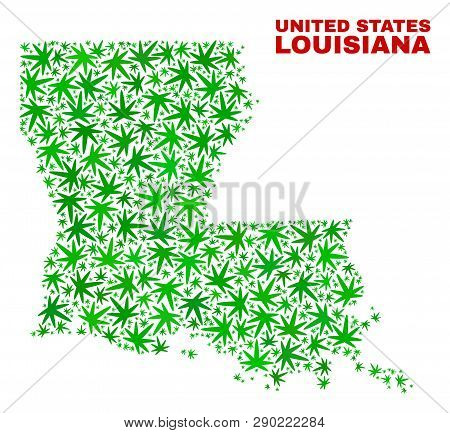 Vector Marijuana Louisiana State Map Mosaic. Template With Green Weed Leaves For Marijuana Legalize