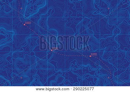 Sea Depth Topographic Map With Route And Coordinates Conceptual User Interface Blue Abstract Backgro