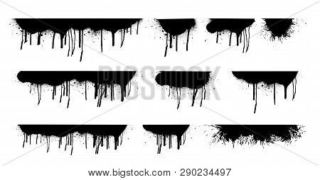 Dripping Oil Stain. Liquid Ink, Paint Drip And Drop Of Drippings Stains Watercolor Splash, Blood Or