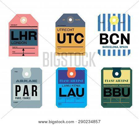 Paris Lamu Bucharest Utrecht Barcelona London Airline Baggage Tags Flat Illustration.