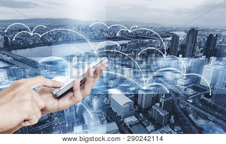 Smart Technology, Internet 5g And Network Connection. Hand Using Mobile Smart Phone With Networking