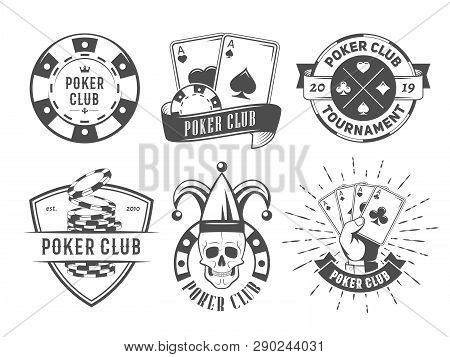 Vector Poker Club Logos. Set Of Vintage Badges With Playing Cards And Chips For Poker Tournament Or