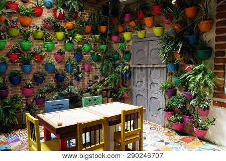 SALENTO, COLOMBIA, AUGUST 17, 2018: Traditional cafeteria in Salento, Colombia, South America